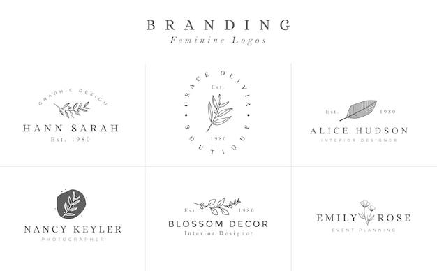 手描きの女性のベクトル記号またはロゴのセット