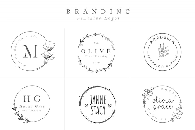 Набор женских векторных знаков или шаблонов логотипов