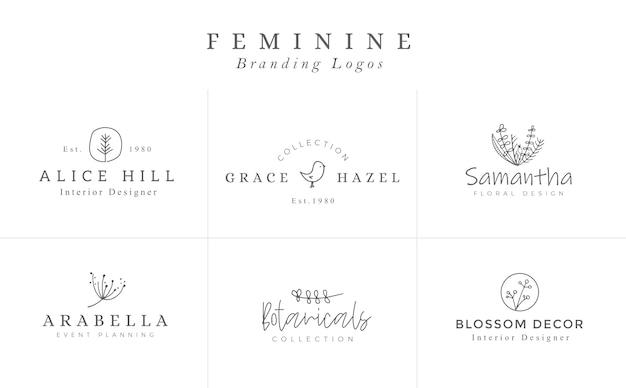 Цветочные шаблоны логотипов. векторные минималистичные логотипы. деревенские элегантные логотипы