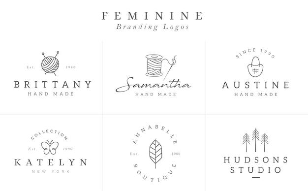 ベクトルの花のロゴのテンプレートコレクション。中小企業のブランドの手描き花ロゴタイプ