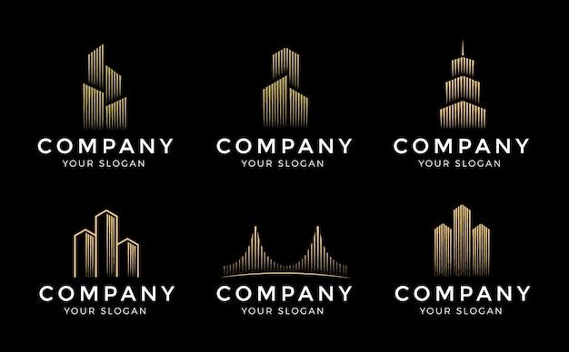 ロゴのテンプレートを設定します。不動産、建築および建設のロゴのベクトルのデザイン