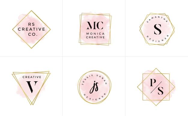 ロゴテンプレートコレクション。ロゴセットミニマリストのロゴタイプ。既製のロゴデザイン