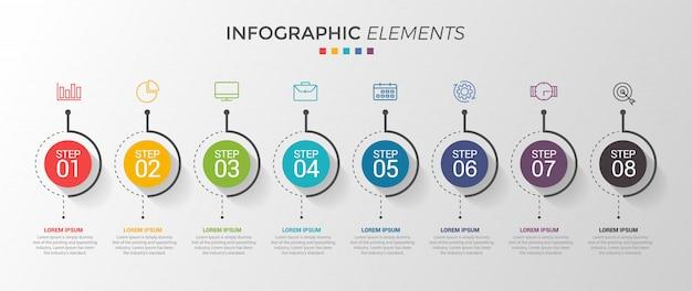オプションや手順を持つインフォグラフィックデザインテンプレート。