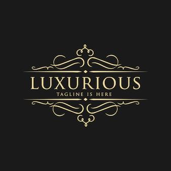 結婚式、レストラン、ロイヤリティ、ブティック、カフェ、ホテル、紋章、ジュエリー、ファッションのためのベクトルの高級ロゴのテンプレート