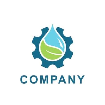 水、ギアのロゴデザインのベクトルの葉。エネルギーエコロジーと工業企業のための淡水とギアの歯車の図