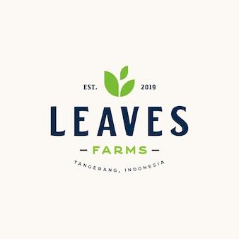 有機食品とビーガンのロゴの農業のためのラベルとバッジのビンテージスタイル要素