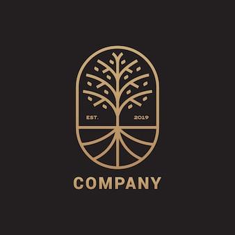 ルートのロゴ、エレガントで豪華なイラストと抽象的な木
