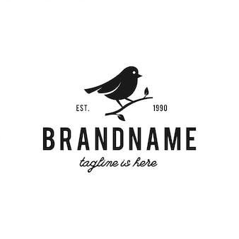 Птица логотип битник винтажный ретро значок