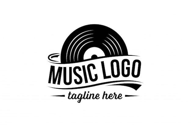 ビニールレコードのロゴのテンプレート