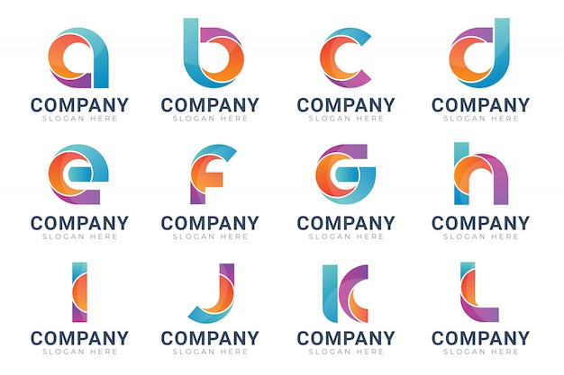 モノグラムのロゴデザインテンプレートのセット