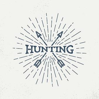 レトロな狩猟のロゴ