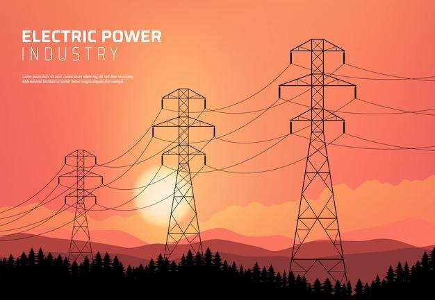 エネルギー論、送電電線。