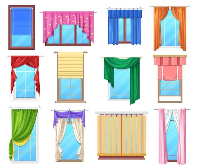 カーテンとジャロジー内部の窓