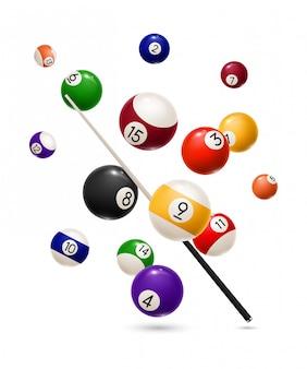 ビリヤードスポーツゲームの現実的なボールとキュー
