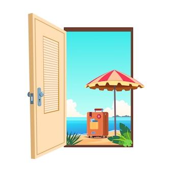 Добро пожаловать на пляжную иллюстрацию