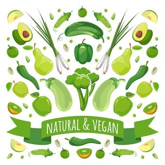 Векторная иллюстрация зеленых фруктов и овощей