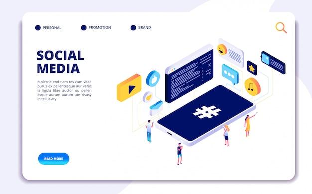 Социальные медиа изометрической концепции. люди следят, делятся контентом с телефонами, онлайн знакомств. целевая страница для мобильных телефонов