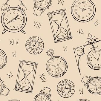 時計のシームレスなパターン。時間をスケッチし、砂時計とメカニック時計をスケッチし、時計のビンテージテクスチャ