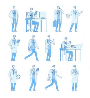 Доктор человек персонажей. медицина люди врачи стоматолог здоровье менеджер линии мультфильм набор символов