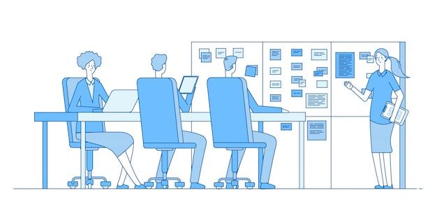 理事会の計画。オフィスの教室内のタスクボードでトレーニングする人々。チームワークビジネスラインコンセプト