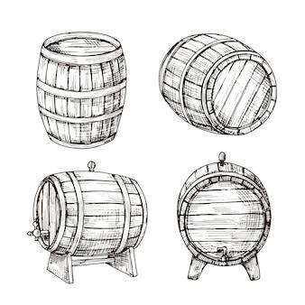 バレルをスケッチします。ウイスキーオークのキャスク。ヴィンテージの彫刻スタイルの木製ワイン樽。バー、パブ、醸造所