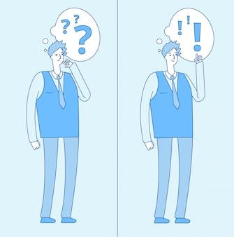 Молодой смущенный человек. думая студент с вопросительными знаками и человеком с решением проблемы. дилемма и понимание