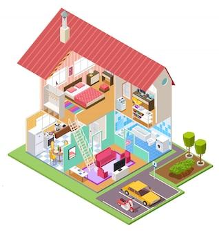 カッタウェイハウス。キッチンベッドルームのバスルームのインテリアと住宅建設断面。家の中