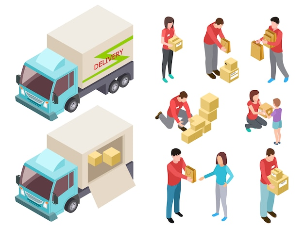 Служба доставки с людьми и грузовиком