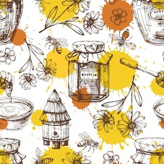 Мед бесшовный фон с каплями, цветами, баночками меда