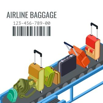 異なる航空会社の荷物の背景を持つベルトトランスポーター