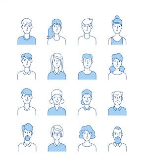 Линия аватаров. счастливые люди иконки пользователя плоский контур мужской женский аватар анонимные лица мужчина женщина симпатичный парень интернет профиль