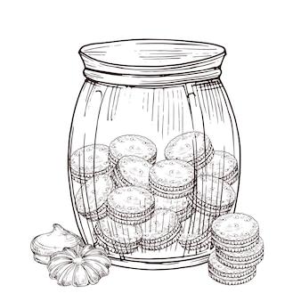クッキーと白い背景の上のメレンゲの瓶