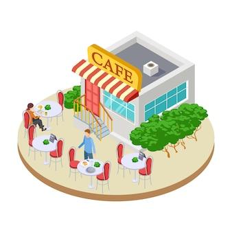 Симпатичная летняя улица маленького кафе с наружными столиками изометрической иллюстрации