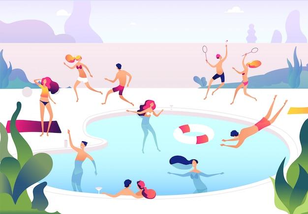 Люди у бассейна. лица, плавающие в летнем бассейне, расслабляющиеся, загорая, семья, женщины, мужчины, водные игры, летняя вечеринка.
