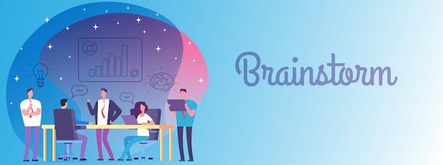 Мозговой штурм, бизнес баннер работа команды шаблон