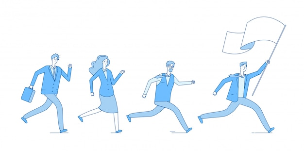 Люди бегут с флагом. деловые люди вслед за лидером ведущей офисной команды. концепция лидерства предпринимательства