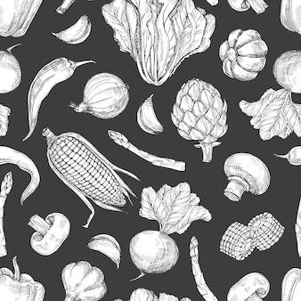 手描き野菜ヴィンテージのシームレスなパターン背景