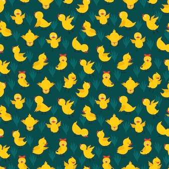 かわいい黄色の鶏とのシームレスなパターン