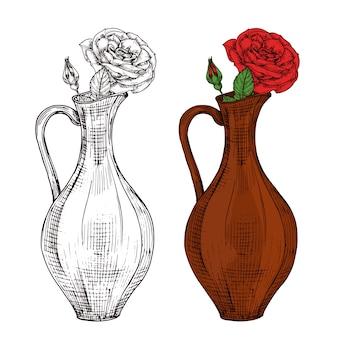 赤いバラのイラストがワインの水差しのスケッチ