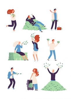Состоятельные счастливые люди с деньгами
