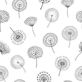 タンポポのシームレスなパターン。タンポポの草花粉植物種子穏やかな風綿毛花マクロ自然春テクスチャを吹く