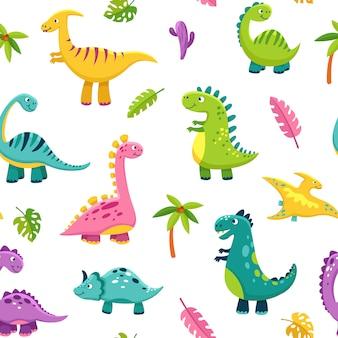 恐竜のシームレスなパターン。漫画かわいい赤ちゃん恐竜おかしいモンスタージュラ紀野生動物ドラゴン恐竜子供繊維アート