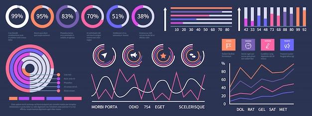 インフォグラフィックダッシュボード。インターフェイスプレゼンテーション要素セット