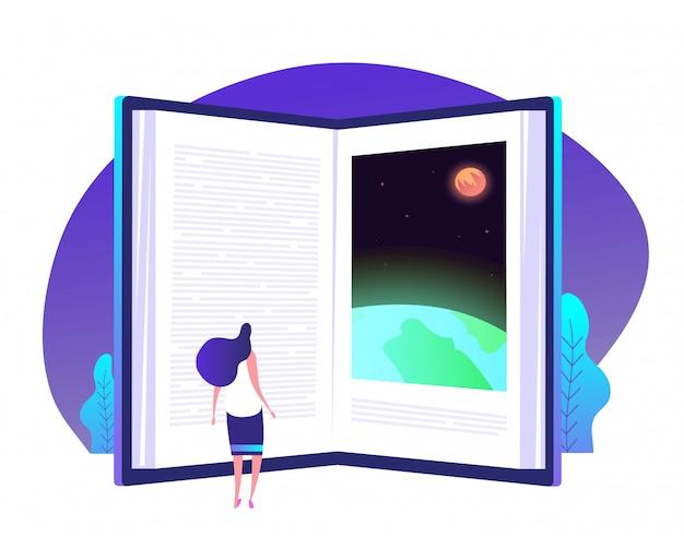 本知識の概念。知識世界のビジネス背景を教える知識グローバル図書館教育への本の扉