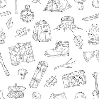 キャンプパターン。ハイキング、天然木の家族キャンプ。スカウトアウトドアアドベンチャースケッチ概要シームレステクスチャ