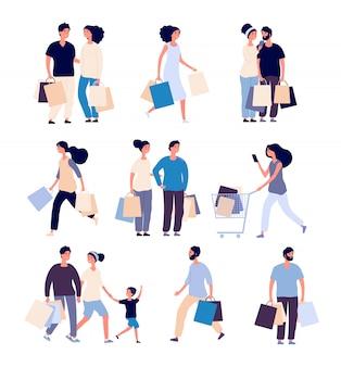Торговые люди установлены. мужчина и женщина с покупками карты покупки продукта в продуктовом магазине. набор персонажей мультфильма покупателя