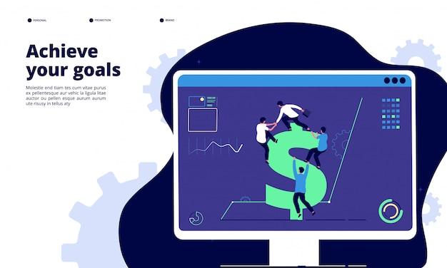 チームワークの着陸。ドル記号を登るオフィスの人々、成功した投資キャンペーンを一緒に。最高のビジネスソリューションコンセプト