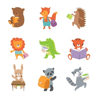 Симпатичные школьные животные. медведь и лиса, лев и крокодил, тигр и панда.