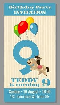 子供の誕生日パーティー漫画動物の馬の招待状