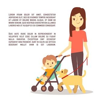 Молодая мать с детским коляской и собакой